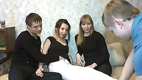 Raunchy Russian dads fuck all pussies and assholes of hot chicks in group sex orgies