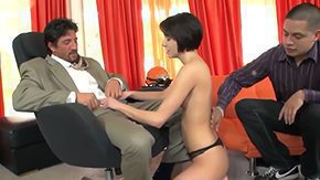 Short Hair Brunette, 3some, Ball Licking, Banging, Blowjob, Brunette
