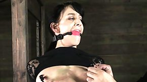 Nipple Clamps, BDSM, Brunette, Choking, Fetish, Gagging