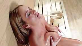 Sauna, Big Tits, Blonde, Handjob, MILF, Sauna