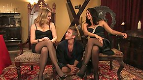 Stockings, BDSM, Blonde, Femdom, FFM, Group