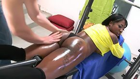 Free Gogo HD porn videos Dark-skinned vixen Gogo Fukme white coach Jerry are solitary hell of good fitness team See Gogo working out with her butt bare then letting Jerry oil her