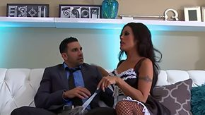 Ebony maid blackmails her boss and demands him to lick her ass
