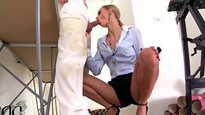 Son, Babe, Ball Licking, Blonde, Blowjob, Choking