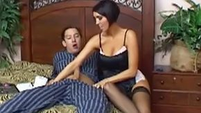 Mommy, Aunt, Bed, Big Tits, Black, Blowjob