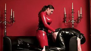 Catsuit High Definition sex Movies Ribbon On Latex Excess Clothed amidst ambrosial red rubber catsuit with Lady Asmondena take villein doggy position