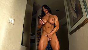 Free Bodybuilder HD porn Aziani Steel Angela Salvagno female bodybuilder receive mid nature's garb sling bikini suggests off her huge biceps massive clit