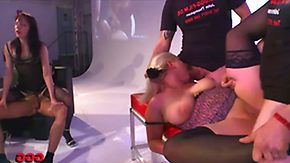 French, Ball Licking, Bend Over, Big Tits, Blonde, Blowbang