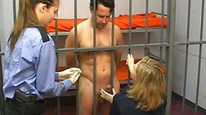 Prison, Blonde, Brunette, CFNM, Handjob, Jail