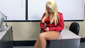 Angelina Ash, Bend Over, Blonde, Clothed, Desk, Dildo