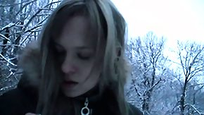 Free Smoking HD porn Blazing hot european teen goes for a nice walk in the winter time