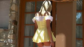 Mini, Aunt, Blonde, Blowjob, Clothed, Dress